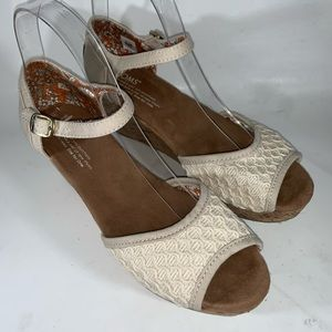 Toms Cork Ankle Strap Wedge w/ Crochet Detail